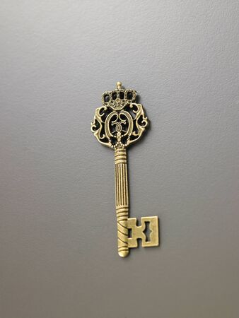 key on the gray background