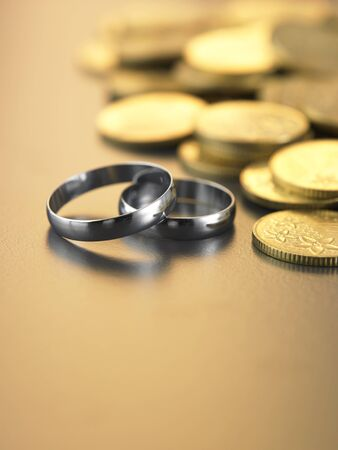 two rings in front of the coins