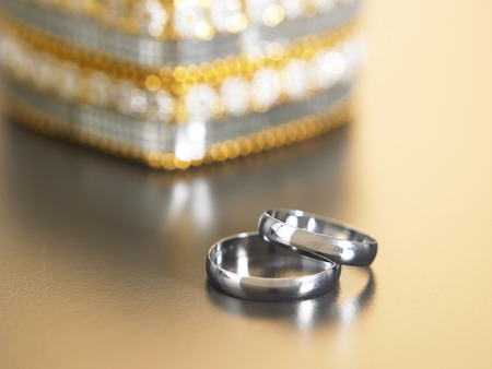 close up of the rings in front of jewel box