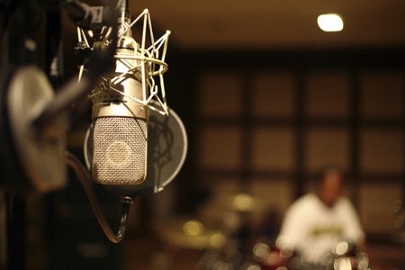 microphone in the recording room Imagens