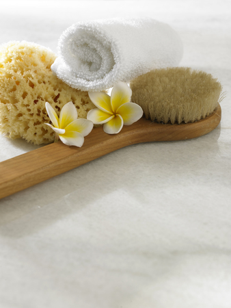 spa concept with frangipani,brush and towel