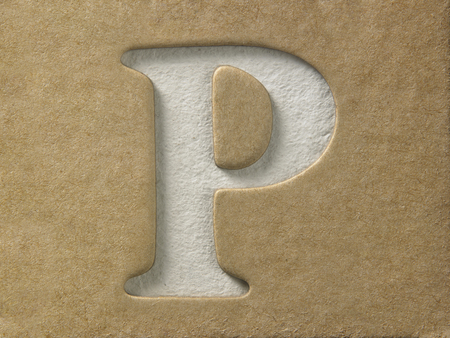 cut out alphabet p on the brown cardboard Stock Photo