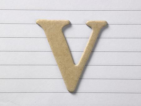 close up of alphabet v on single line book Stock Photo