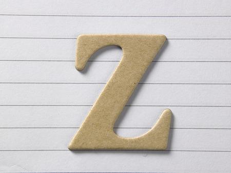 close up of alphabet z on single line book