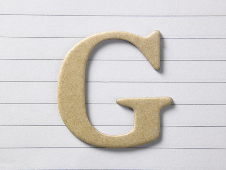 close up of alphabet g on single line book Stock Photo