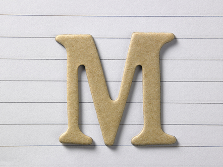 close up of alphabet m on single line book Stock Photo