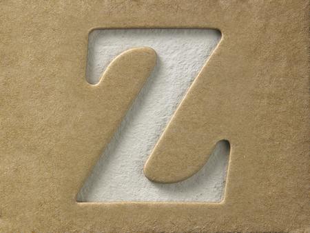 ritaglia l'alfabeto z sul cartoncino marrone