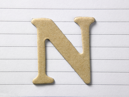 close up of alphabet n on single line book Stock Photo