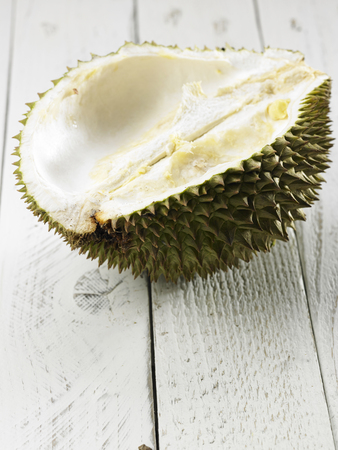 malaysia fruit durian on the wooden table Imagens