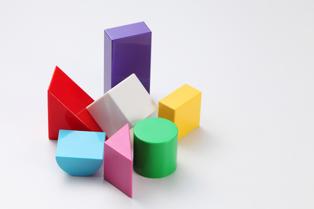 colorful building blocks isolated on white background Stock Photo