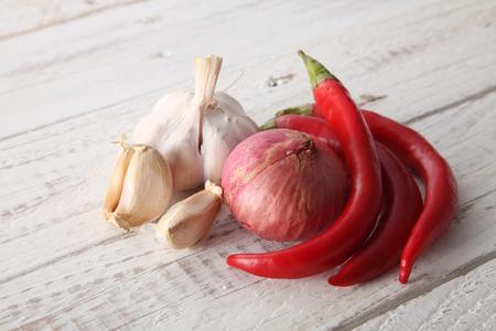 Close up of chili,garlic and onion