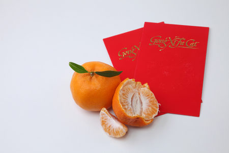 chinese new year celebration mandarin orange with ang pao