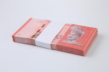stack of the Malaysia ringgit ten dollar