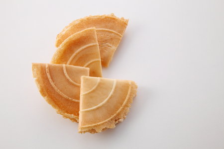 Kuih Kapit or the Malaysian Chinese Love Letter biscuit over white background