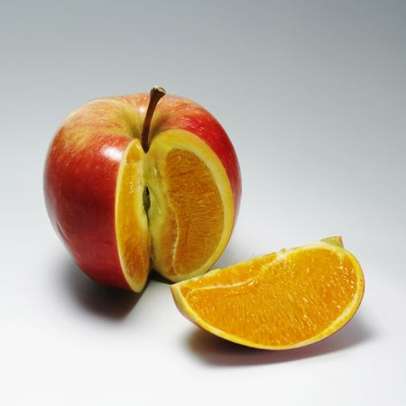 Photo manipulation: red apple with orange content