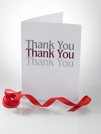 Thank you card with the ribbon Stock Photo