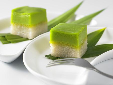 Serimuka Kuih también conocido como el pastel de natillas Pandan