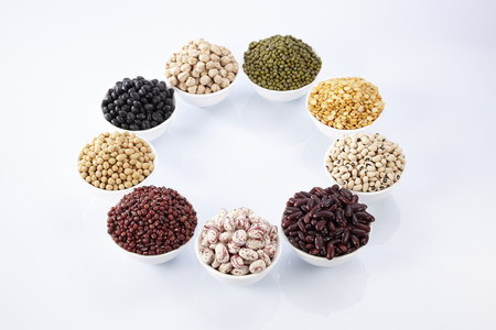 different legumes - lentils, beans and peas Stock Photo
