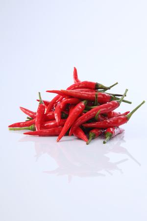 red chili or chili padi on the white background