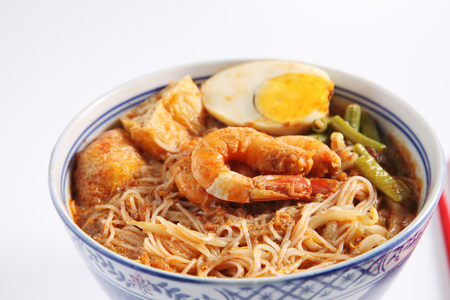 prawn curry vermicelli on the white background