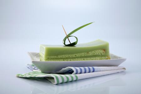 pandan layer cake on the  plate Stock Photo