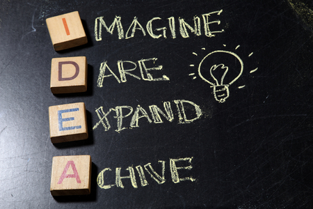 IDEA, business concept acronym on blackboard