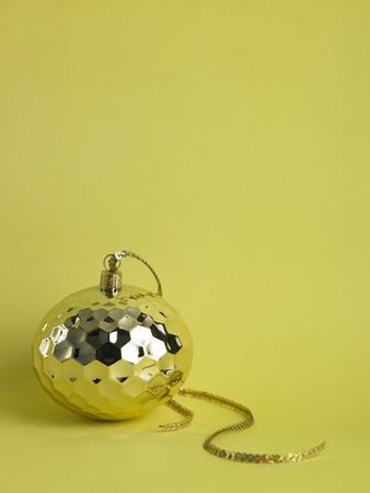 christmas ornament ,christmas ball on the yellow background