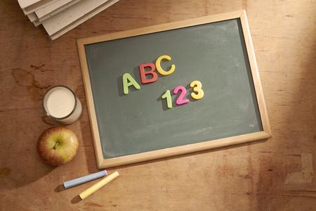 a b c 1 2 3 on the chalkboard