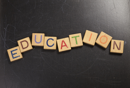 wooden block with alphabet education Banque d'images - 118051454