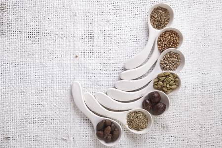 white spoon with curve fill up with spices