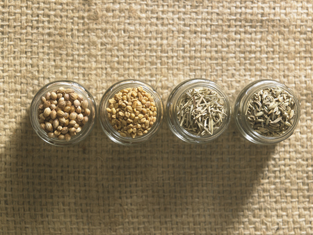 top view of four type of spices