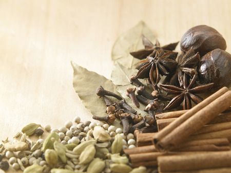 group of spices on wooden background
