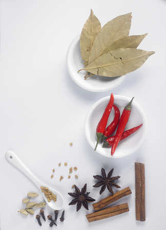 top view of assorted spices on the white background Stock Photo