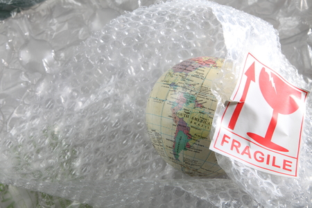 desk globe protect using plastic wrap Stock fotó