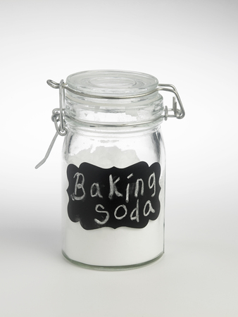 label baking soda o the white background 免版税图像