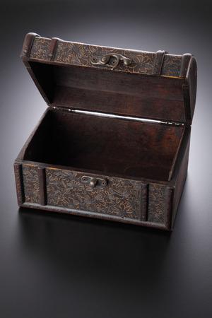 retro antique chest box on the gray background Stockfoto