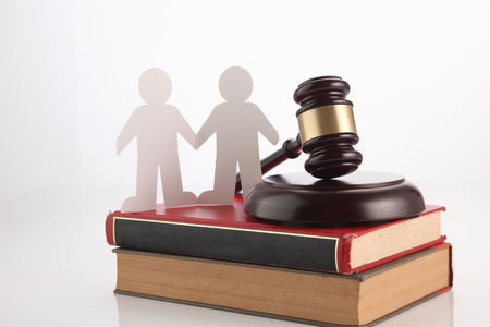 people, homosexuality, same-sex marriage and love concept with gavel hammer and law book Stockfoto