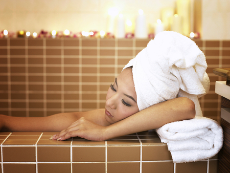 woman resting in spa
