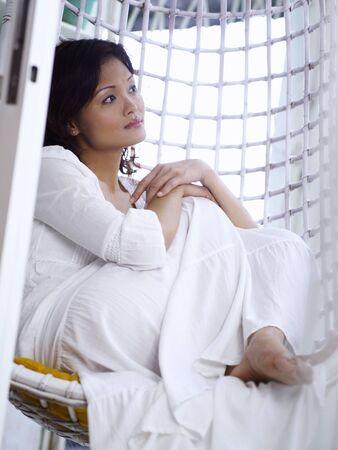 woman sitting in the garden