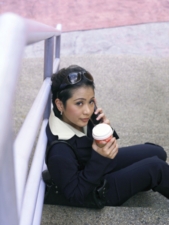 top view of businesswoman outdoor