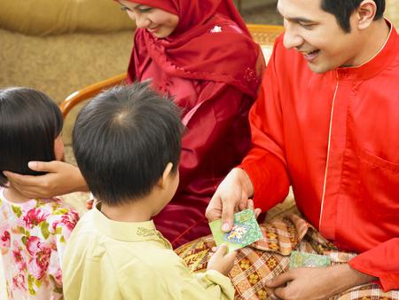malay family during hari raya
