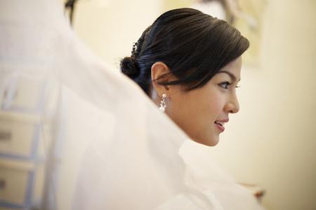 Bride holding her soft veil