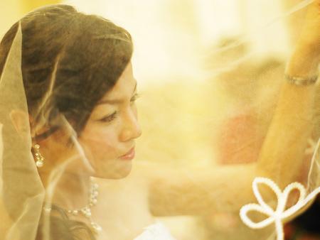 Bride hiding behind her veil Archivio Fotografico