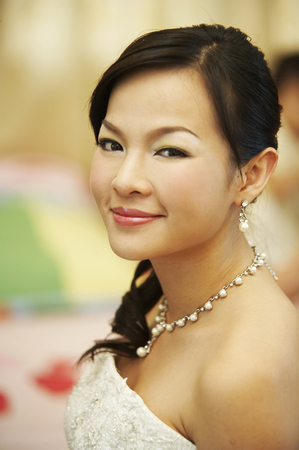 Bride smiling from high angle view Stock Photo