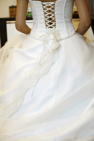 Rear view of a wedding gown