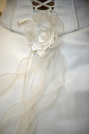 Wavy floral ribbon on the back of wedding gown 版權商用圖片