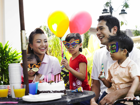 Children wearing mask in the birthday party