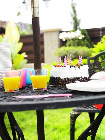 Party set up in the garden 写真素材