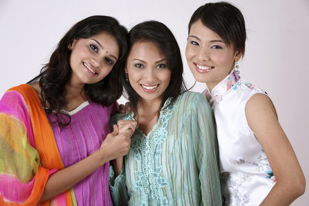 three friend holding hands together Stock Photo