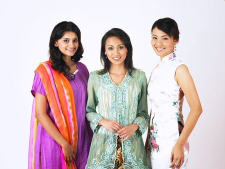 chinese ,malay and indian girls stand side by side Stock Photo